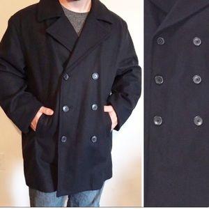 J. CREW Classic Black Wool Winter Pea Coat XL